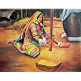 "Dolls Of India ""A Tribal Woman Grinding Grains"" Reprint On Paper - Unframed (71.12 X 55.88 Centimeters)"