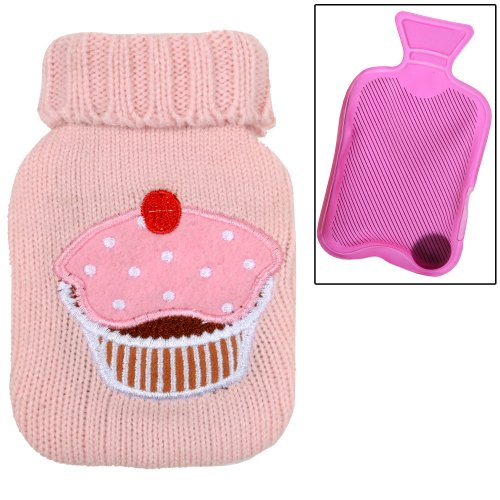 PINK Mini Gel Pack Hand Warmer And Sweater Style Cover With Cup Cake Design Applique