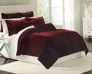 Luxury bedding nicole miller quilt coverlet for Grey velvet comforter