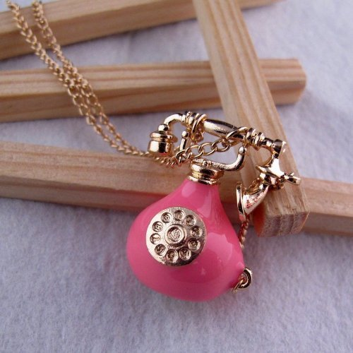 Vintage Jewelry - Retro Pink Telephone Vintage Pendant Necklace - Boxed & Gift Wrapped