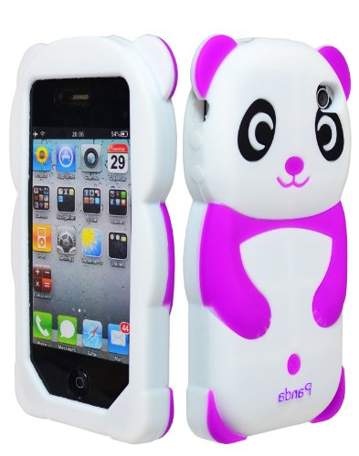 iPhone 4 Phone Case, Bastex 3D Silicone Purple & White Panda Bear Case for Apple iPhone 4, 4s (Panda Bear Phone Case compare prices)