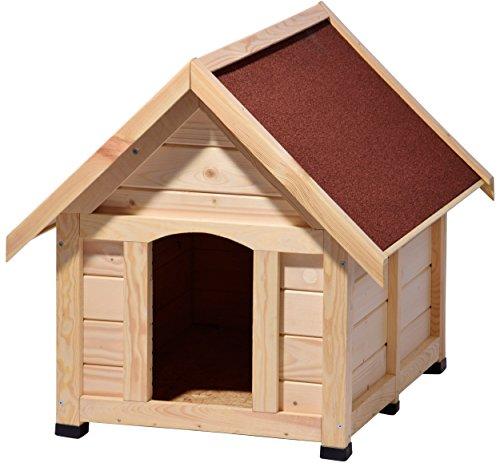 Artikelbild: dobar 55011 Hundehütte 'Peanut' L, Outdoor Hundehaus für große Hunde, Platz für ein Hundebett, wetterfest imprägnierte Hundehöhle mit Spitzdach, 92x75x80 cm, 26,5kg Holzhütte, Kiefer