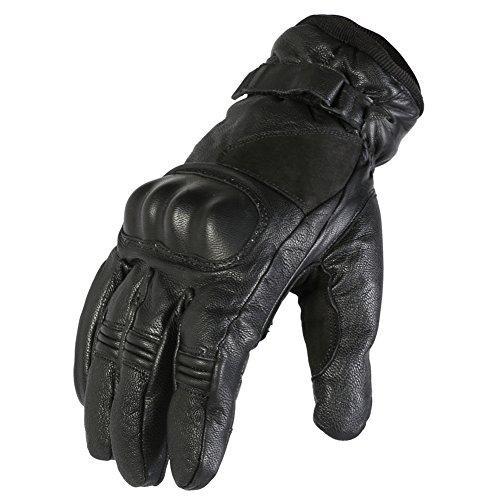 Texpeed - Guanti in pelle impermeabili per motociclismo - taglio corto - nero - Taglia M - 8-8,5cm