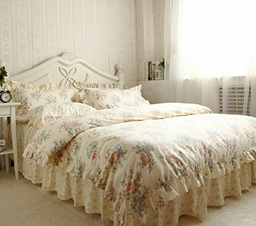 FADFAY Home Textile,Vintage Floral Print Bedding Set,Elegant French Country Style Bedding Set,4Pcs 2