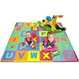 Matney Foam Mat Of Alphabet And Number Puzzle Pieces With Borders Included- Great For Kids To Learn And Play -...