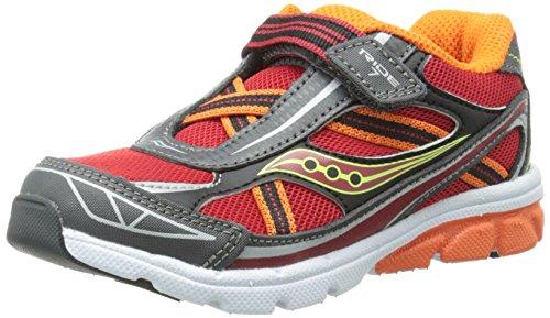 Saucony Boys' Baby Ride 7 Sneaker (Toddler),Red/Orange/Grey,4.5 XW US Toddler