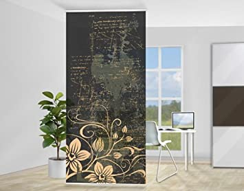 mantiburi design raumteiler zarte ranken floral schiebe gardine fl chen vorhang paravent bl te. Black Bedroom Furniture Sets. Home Design Ideas