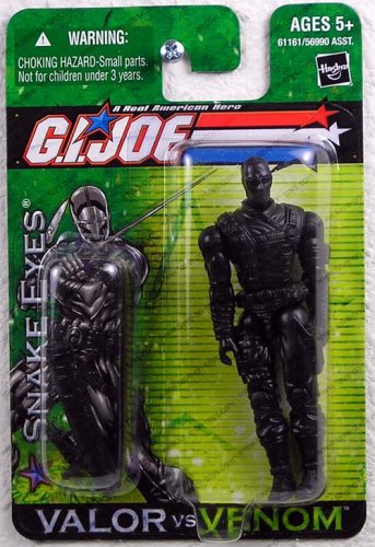 G.I. Joe A Real American Hero Valor Versus Venom 4 Inch Action Figure - Snake Eyes with Ninja Sword and Sheath Plus Sub Machine Gun
