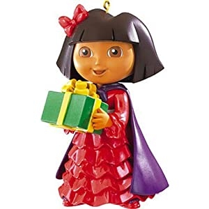 #!Cheap Dora the Explorer Christmas Ornament - Dora with Gift