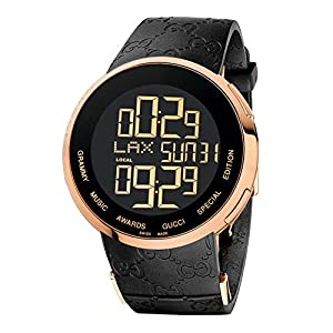 Gucci I Gucci Collection Men's Digital Watch with Black Dial Digital Display and Black Rubber Strap YA114222
