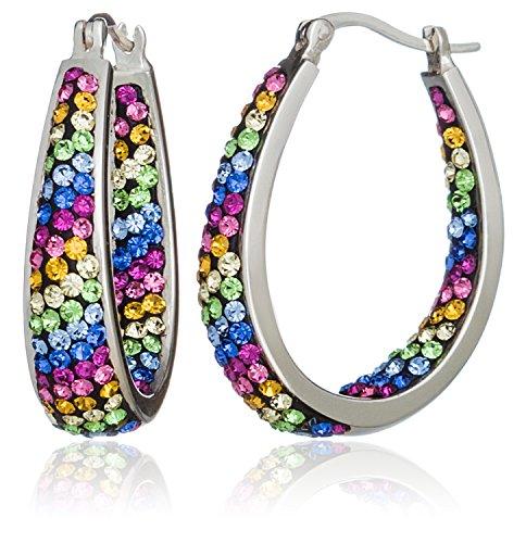 carly-creations-mujer-chapado-en-plata-multi-crystal-rainbow-stripe-aro-pendientes