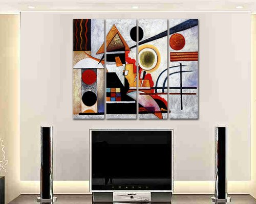 Sangu 100% Hand Painted Wood Framed 4-piece Hot Sale House For Abstract Oil Paintings Gift Canvas Wall Art Paintings For Living Room.