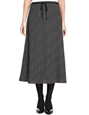M&S Collection Spotted Crêpe Belted Long Skirt