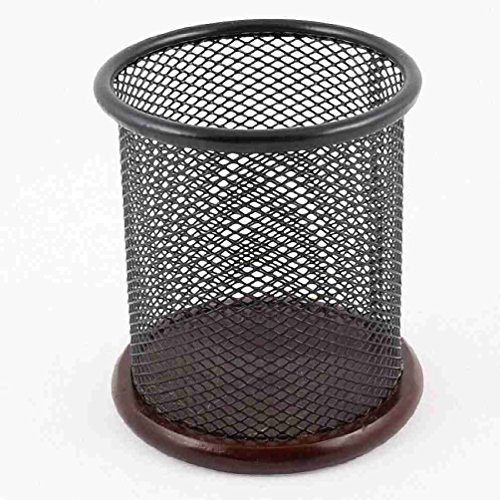 Metallic Mesh Zylinder geformt Holzgestell Papierhalter Box Container Schwarz