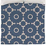 Thumbprintz Duvet Cover, King, Tropical Breeze Blue Scallop Flower