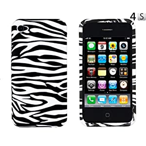 Black Zebra Striped Flexible TPU Gel Case for Apple iPhone 4, 4S (AT&T, Verizon, Sprint)