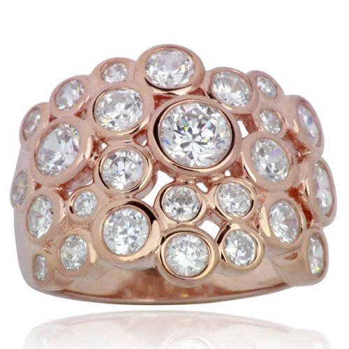 18k Rose Gold Over Sterling Silver Cubic Zirconia Solar Cluster Ring