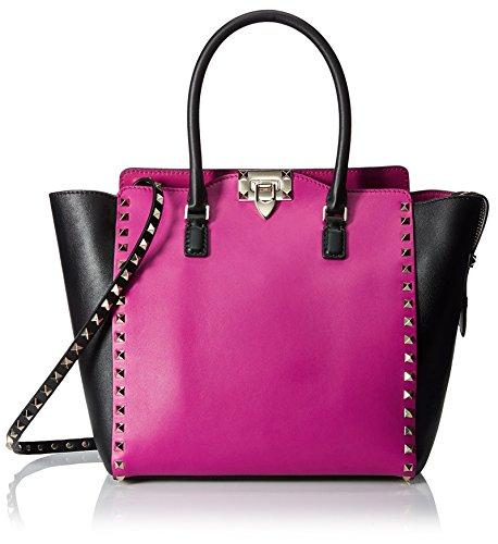 Valentino-Womens-Large-Rockstud-Tote-Bag-FuchsiaBlack