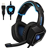 Sades Spirit Wolf USB 7.1 Surround Sound Over-Ear Gaming Headset Headphones with Microphone Volume Control LED Lights for PC (Black Blue) (Color: Sades Spirit Wolf Black Blue)