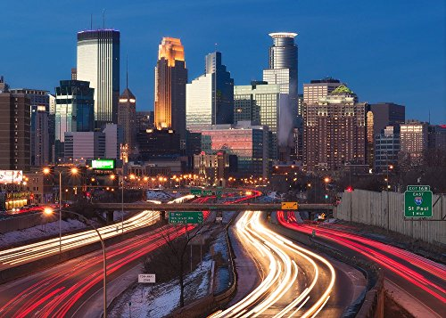 """Minneapolis 35W"" Fine Art Print, Minnesota, Skyline, Cityscape, Downtown, Mpls, Light Trails, Skyscrapers - Travel Photography, Print, Wall Art"