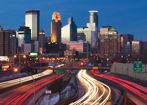 """Minneapolis 35W"" Fine Art Print, Minnesota, Skyline, Cityscape, Downtown, Mpls, Light Trails, Skyscrapers - Travel Photography, Print, Wall Art"