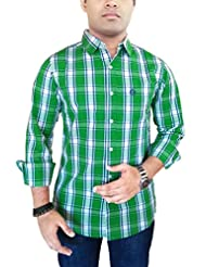 AA' Southbay Men's Green Checks 100% Cotton Casual Shirt