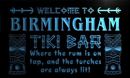Pm2147-B Birmingham Tiki Bar Mask Beer Neon Light Sign