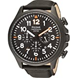 Pulsar Men's Black Leather Strap Chronograph PT3329X1