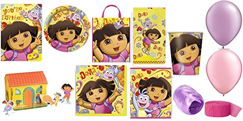 Dora Party Supplies for 16 Ultimate Party Pack Includes Invitations, Table Cover, Napkins, Plates, Cups, Treat Bags, Tote, Centerpiece, Streamer, Curling Ribbon & Balloons - Bundle Of 111 Pieces (Party Streamers Pack compare prices)