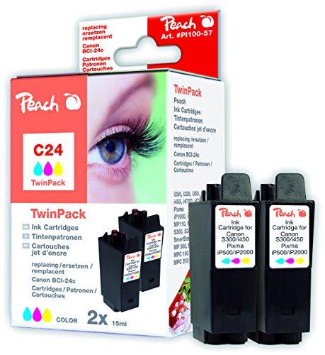Peach PI100-57 Multi-Pack (Schwarz, Gelb, Magenta, Cyan) Kompatibel Tintenpatronen Pack of 2