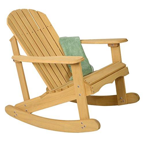 Best Deals Giantex Outdoor Natural Fir Wood Adirondack Rocking Chair Patio Deck Garden