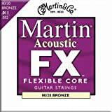 Martin FX Flexible Core 80/20 Bronze Acoustic Guitar Strings - Zinc Flashed Inner Core (Custom / Light, .011 - .052)