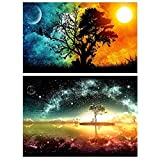 2 Pack DIY 5D Diamond Painting by Number Kits, Crystal Rhinestone Diamond Embroidery Paintings Pictures Arts Craft for Home Wall Decor, (Starry Sky And Sun & Tree) (Color: Starry Sky and Sun & Tree, Tamaño: 12x16inch)