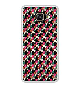 ifasho Animated Pattern design colorful flower in black background Back Case Cover for Samsung Galaxy A3 (2016)