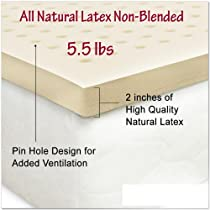 Hot Sale All Natural Latex Non Blended Mattress Topper with Preferred Medium Firmness 2 inch thick - QUEEN Size