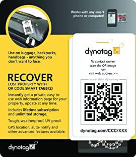 Dynotag® Web/GPS enabled QR Smart Fashion Luggage Tags - 2 IDENTICAL Tags+Chains