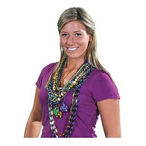 "100 ~ Assorted Mardi Gras Beaded Necklaces ~ 24"" to 48"" ~ Assorted Colors / Patterns ~Plastic Beads ~ New ~ Party Favors"