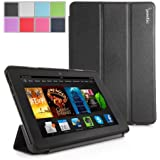 Kindle Fire HDX 7 Case - Poetic Kindle Fire HDX 7 Case [Slimline Series] - [Lightweight] [Ultra-slim] PU Leather Slim-Fit Trifold Cover Stand Folio Case for Amazon Kindle Fire HDX 7 (2013) Black (3 Year Manufacturer Warranty From Poetic)