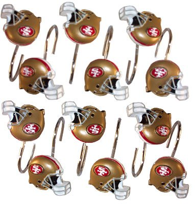 San francisco 49ers nfl set of 12 bathroom shower curtain for 49ers bathroom decor