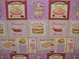 American Diner 1950s Cotton Designer Curtain Upholstery Fabric - Sold By The Metre
