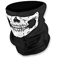 HD Stretchable Windproof Black Tribal Classic Skull Soft Polyester Half Face Mask Snowboard Snowmobile Snow Ski Facemask Headwear by Sports and AUTO Magic Mask