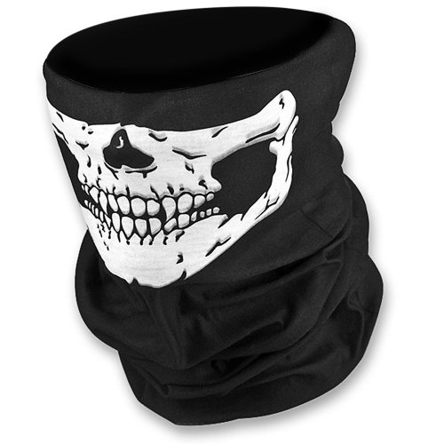 JAMBO Stretchable Windproof Black Tribal Classic Skull Soft Polyester Half Face Mask Facemask Headwear Motorcycle ATV Biker Cycling