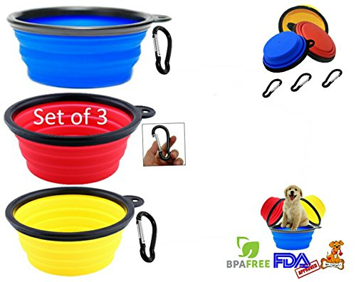 Premium Collapsible Dog Bowl * Set of 3 Colors with Carabiners * Portable Pet Bowls * Perfect Travel Bowls for Feed & Water on Journeys, Hiking, Kennels & Camping * BPA FREE Food Grade Silicone