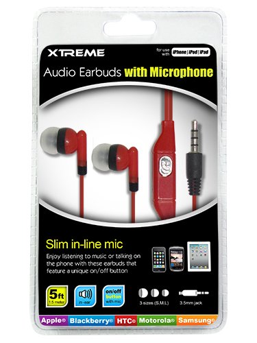 Xtreme Audio Earbuds With Microphone - Retail Packaging - Red