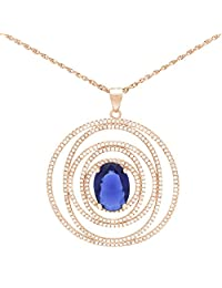 Pink Gold Plated Pure 925 Sterling Silver Concentric Circles With Oval Prong Set Simulated Sapphire And Diamonds...