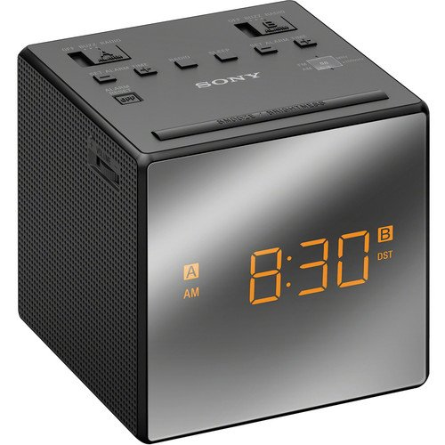 Sony Compact Am/Fm Dual Alarm Clock Radio With Easy To Read, Backlit Lcd Display, Battery Back-Up, Adjustable Brightness Control, Programmable Sleep Timer, Daylights Savings Time Adjustment, Black Finish