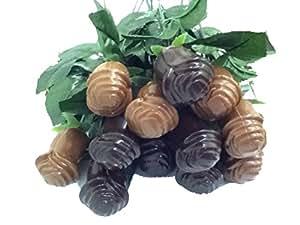 Long Stem Solid Chocolate Roses 6 Milk chocolate & 6 Dark Chocolate