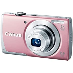 Canon PowerShot A2600 IS 16.0 MP Digital Camera with 5x Optical Zoom and 720p Full HD Video Recording (Pink)