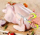 Multifunction Kitchen Shears - Stainless Steel, Heavy Duty - Come-Apart Kitchen Scissors - Includes Refrigerator Magnetic Holder - Multipurpose Kitchen Tool - BONUS: Folding Knife