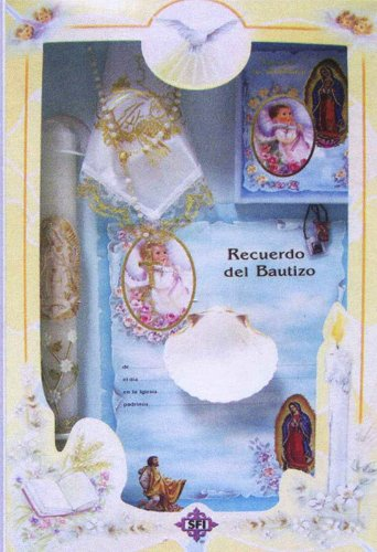 Baptism Gift Sets - Rosary - Sculptured Candle - Missal - Hanky - Shell - Gift Box 16in.x10in. - ENGLISH, Boy